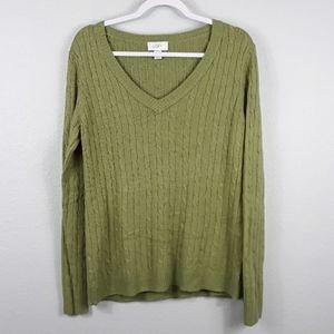 LOFT V neck rabbit hair blend knit sweater Large